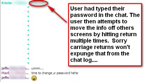 password in chat